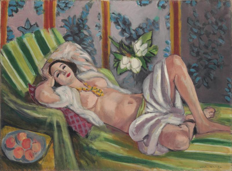 馬蒂斯《側卧的宮娥與玉蘭花》