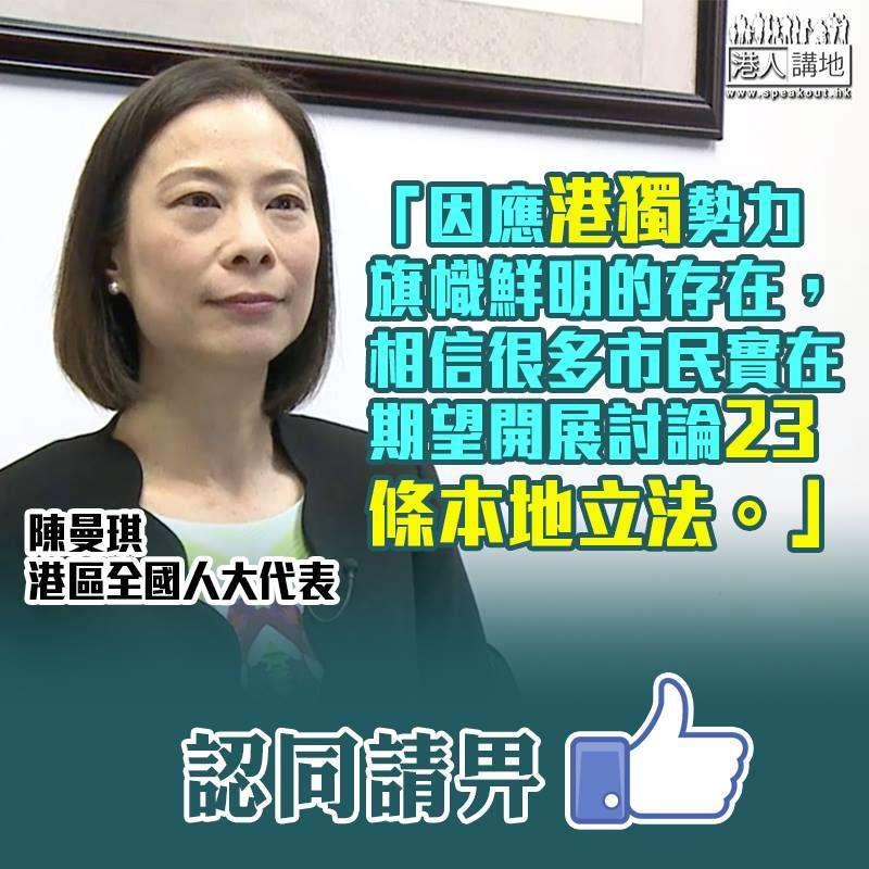 陳曼琪:相信很多巿民實在期望開展討論23條本地立法
