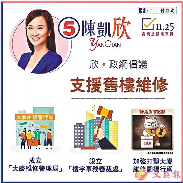 九龍西補選:凱欣倡設新局助「N無」樓維修