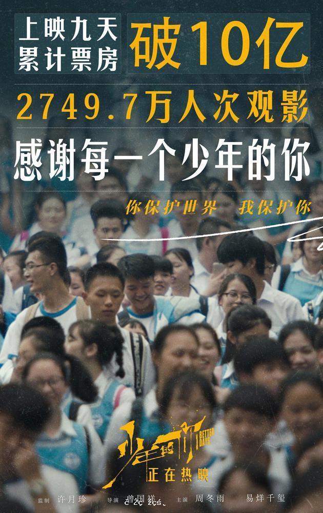 《少年的妳》票房破10億 成中國第72部破10億電影